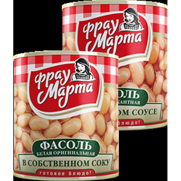 """Фасоль белая пикантная в томатном соусе """"Фрау Марта"""", 310 г (15*1)"""