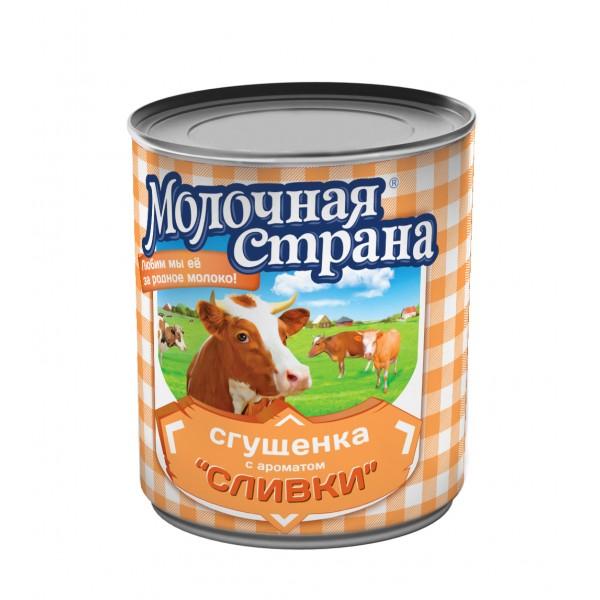 """Консервы молокосодержащие сгущенные с сахаром Сгущенка и сливки """"Молочная страна"""", 360 г, ж/б, (15*1), шт"""
