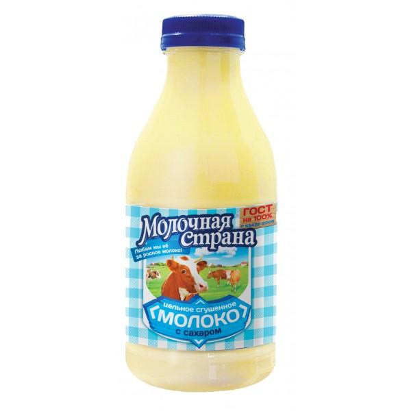 """Молоко цельное сгущенное с сахаром """"Молочная страна"""" ГОСТ, 720 г  (12*1)"""