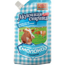 """Молоко сгущенное цельное с сахаром """"Молочная страна"""" (270 гр * 12 шт дой-пак)"""