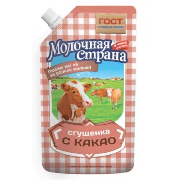 "Сгущенка с какао ""Молочная страна"" (270 гр * 12 шт дой-пак) оптом"