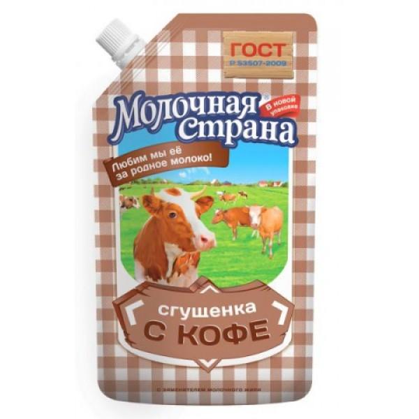 """Сгущенка с кофе """"Молочная страна"""" (270 гр * 12 шт дой-пак) оптом"""