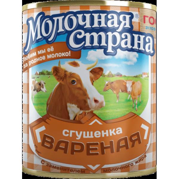 "Вареная сгущенка ""Молочная страна"" (380 гр * 15 шт) оптом"